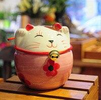 Zakka Japanese And Wind Plutus Cat Piggy Bank The Cherry Blossom Cat Ceramic Furnishing Home Decor