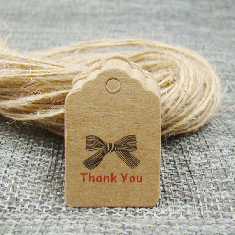Pretty Scallop Kraft Handmade With Love Gift Tag Thank You Wedding Note Tag 100pcs +100 String For Wedding Favors Note Tag
