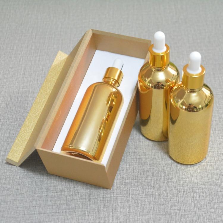 4pcs 100ml vacuum plating golden empty  dropper bottle With wooden box,glass essential oil bottle, perfume subpackage jar