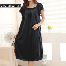 Perspective Ladies Sexy Sleepwear Summer Plus Size Short Sleeve O-Neck Faux Silk Satin Nightgown for Women #10