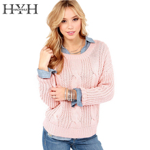 HYH HAOYIHUI Autumn Tops Women Clothing Pink Loose Long Sleeve Crew Neck Knitted Pullovers Slim Fashion Basic Sweaters