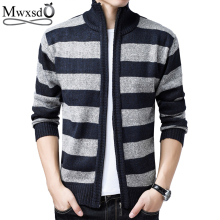 Mwxsd winter casual men warm striped cardigan sweater men's cotton warm knitted cardigan male Warm Sweatercoat overcoat jacket