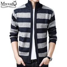 Mwxsd winter casual men warm striped cardigan sweater men s cotton warm  knitted cardigan male Warm Sweatercoat 743186744bcf