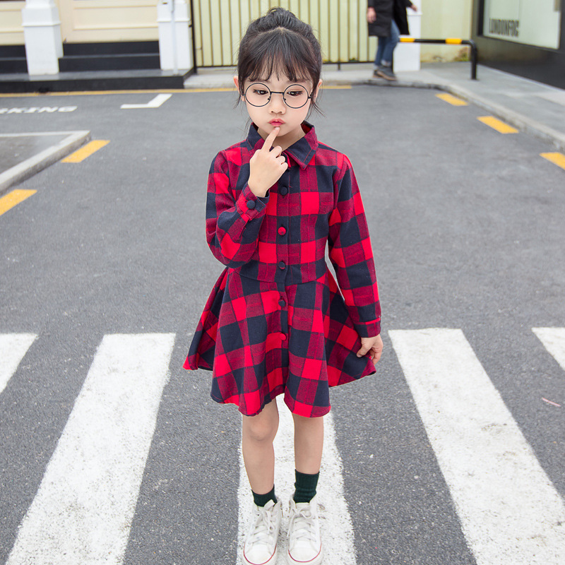 Mother & Kids Kids Autumn Cotton Red Yellow Girls Clothes England Style Plaid Lace Up Casual Cotton Bow Design Baby Girls Long Sleeve Dress