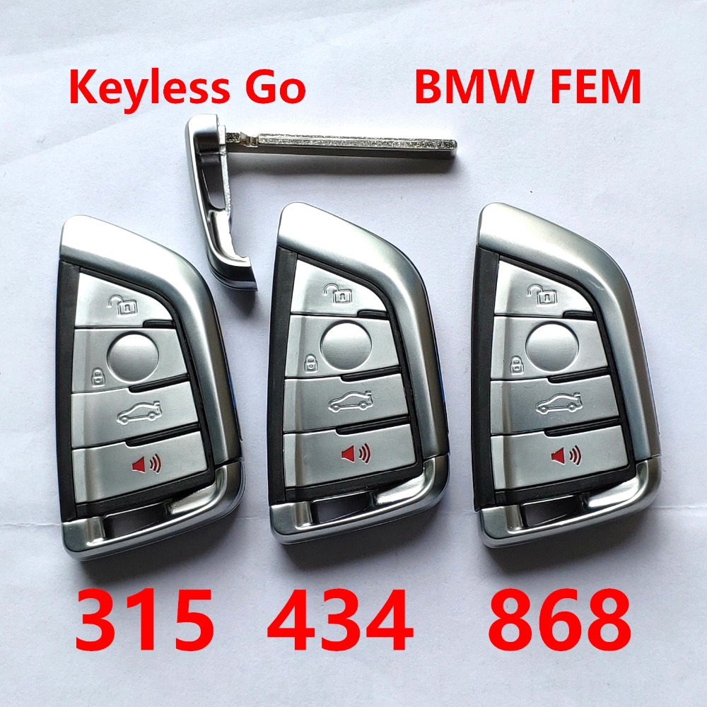 For BMW FEM 4 Button 315 434 868 MHz Smart Keyless Go Promixity Remote control key