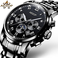 AESOP 9002 Switzerland watches men luxury brand automatic mechanical daydate month Moon phases black relogio masculino