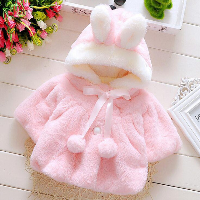 High Quality New Arrival 2017 Girls Jackets and Coats Winter Faux Fur With Hat Kids Baby Coats Fashion Flower Girl Bolero