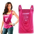 Hot Sale Women Tank Top 2016 Summer Fashion Casual Sleeveless Sequined Vest Slim Fitness Plus Size Pleated Tops Feminine A206