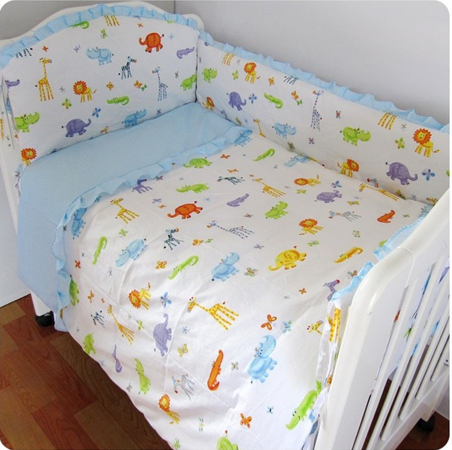 Promotion! 9PCS whole set baby bedding set baby crib set baby cot crib bedding set cartoon animal ,120*60/120*70cm set peperuna set