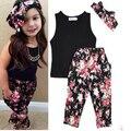 Девочек Мода цветочные casual спортивный костюм детская одежда набор рукавов экипировка + повязка 2015 летний новый детская одежда набор