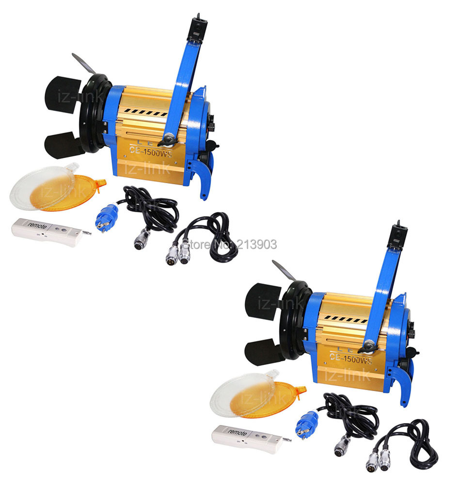 ALUMOTECH Wireless Remote 3200K/5600K 2PCS 150W LED Fresnel Spotlight Light for camera video