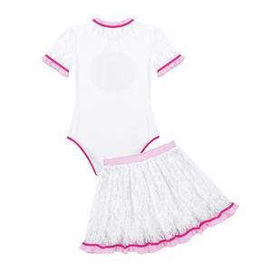 Image 3 - 2Pcs Adult Women Short Lace Sleeves One Piece Diaper Lovers Romper Jumpsuit Bodysuit Age Players Cosplay with Ruffled Lace Skirt
