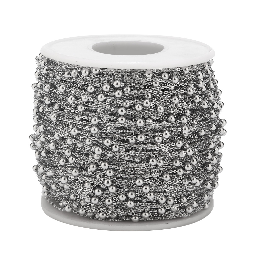 2 Meters 1mm Width Stainless Steel Dull Silver Beaded Cable Chain Ball Soldered Link Chains Jewelry Findings For Choker Anklet