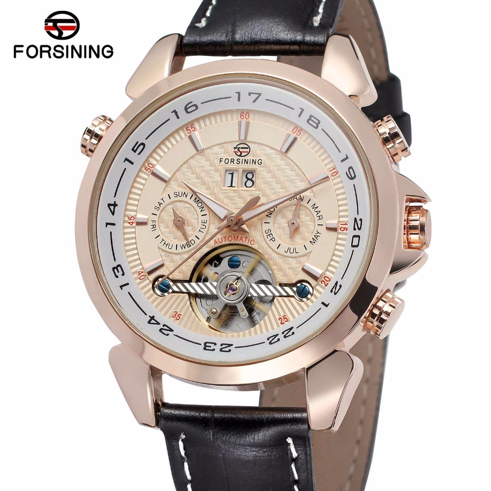 FORSINING Luxury Men Auto Mechanical Watch Genuine Leather Strap Tourbillon Male Multifunction Wristwatch Luminous Hands angie st7194 fearless series male auto mechanical watch