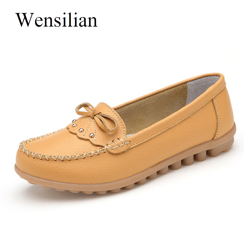 Summer Ballet Flat Shoes Women Elegant Butterfly Knot Genuine Leather Shoes Moccasins Casual Slip On Loafers Zapatos Mujer cresfimix zapatos women cute flat shoes lady spring and summer pu leather flats female casual soft comfortable slip on shoes