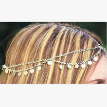 Party Wedding Jewelry Hot New Tiara Circle Roll Drop Head Chain Forehead Dance Headpiece Bohemian Hair Band For Women Gift