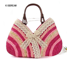 KIBDREAM 2017 Japanese Korean Style Lace Hand Woven Straw Colored  Beach Idiot Free Shipping