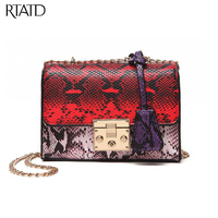 RTATD New faux python leather women bag lady chain shoulder bag super hot girls cross body hasp open stylish messenger bags B012