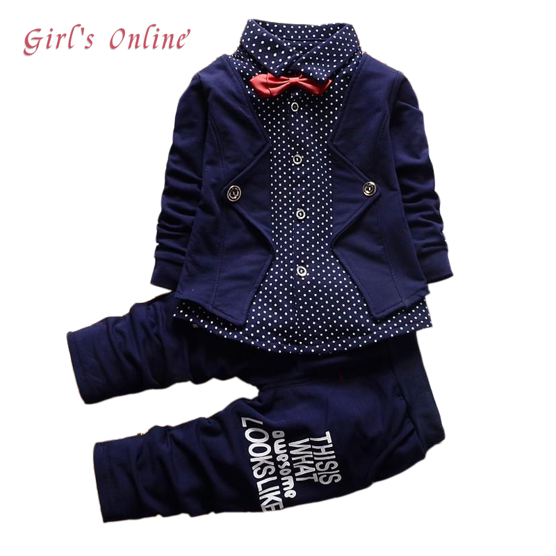 все цены на Boys Clothes Spring Autumn Kids Gentleman Suits Long Sleeve Coat Pant Baby Children Clothing Set 1 2 3 4 Year Toddler Outfits
