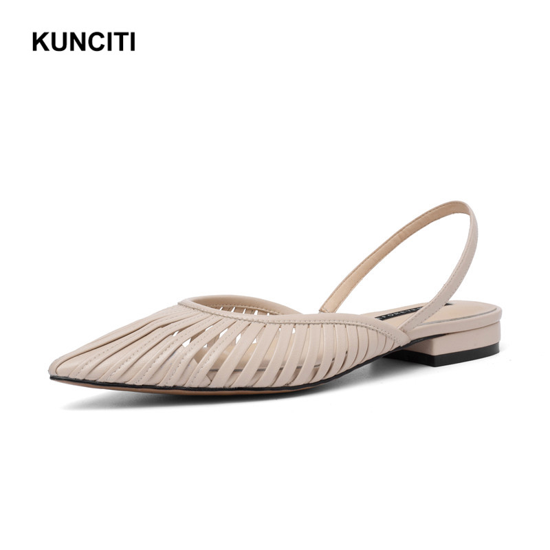 2019 KUNCITI Low Heel Sandals Genuine Leather Hollow Out Women Sexy Heel Shoes Pointy Toe Ladies