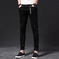 Молодых мужчин черные джинсы Штаны тенденция Штаны стрейч джинсы мужские повседневные джинсы