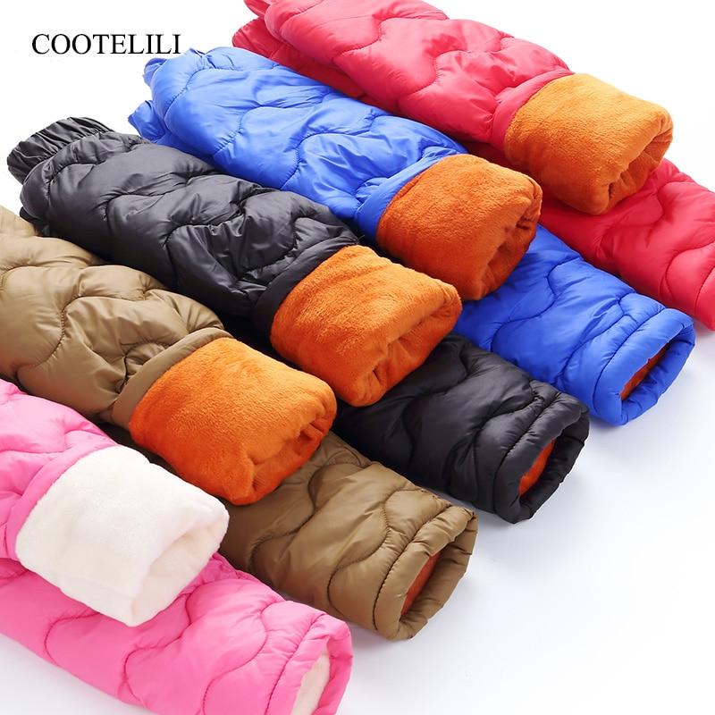 все цены на COOTELILI Children Girl Boy Winter Fleece Pants Cotton Padded Thick Warm Trousers Fashion Velvet Waterproof Ski Pants For Kids онлайн