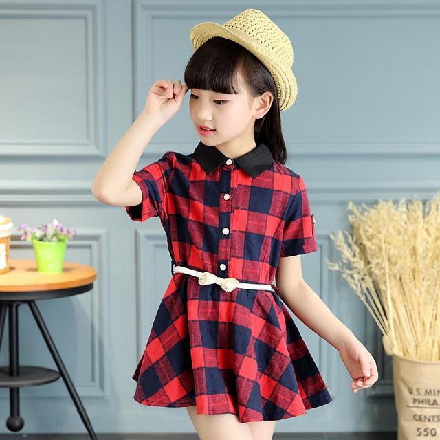Teenage Girls New Summer Cotton Plaid Dress Girl Kids 5 6 7 8 9 10 ... 9b2da7ee8c48