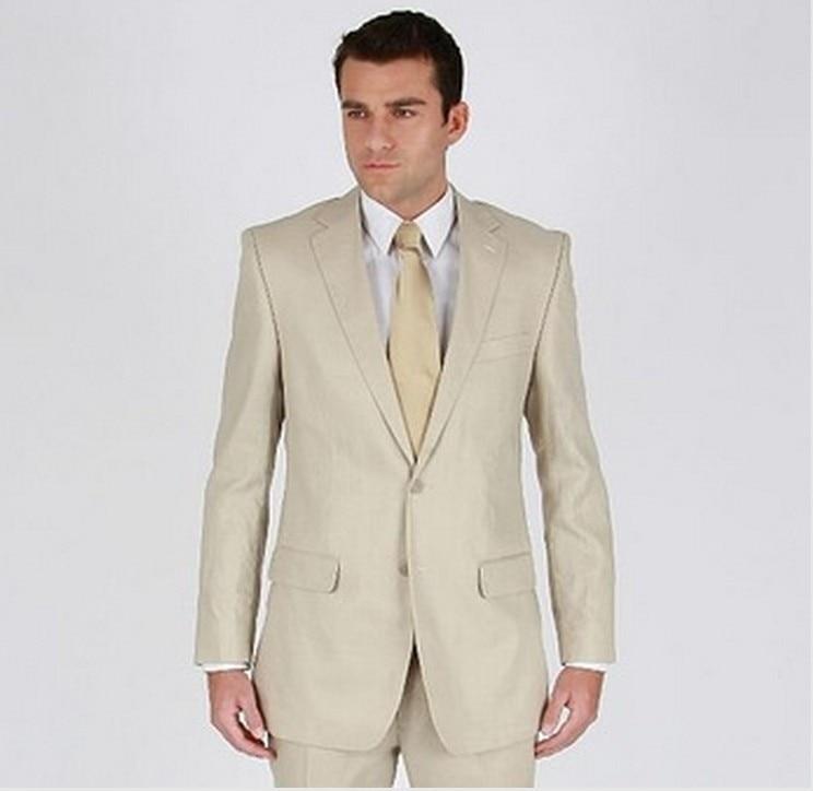 Бежевый деловой мужской костюм на заказ, Свадебный Смокинг на одной пуговице с отворотом, костюм жениха на заказ, мужской костюм на заказ