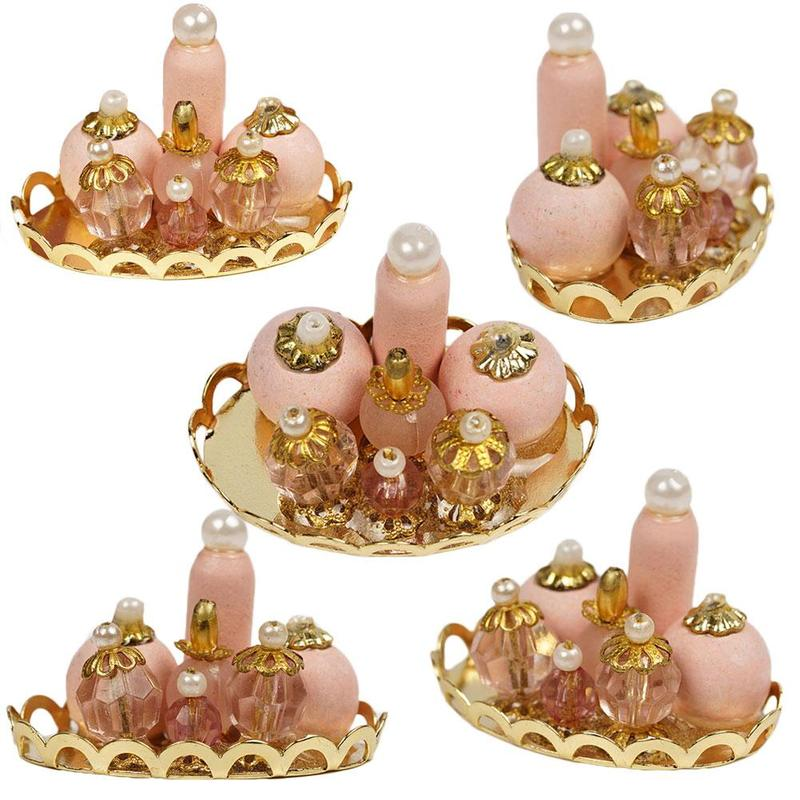 Dongzhur 1:12 Doll House Mini Bedroom Bathroom Accessories Pink Perfume Tray Doll Furniture Toy Accessories