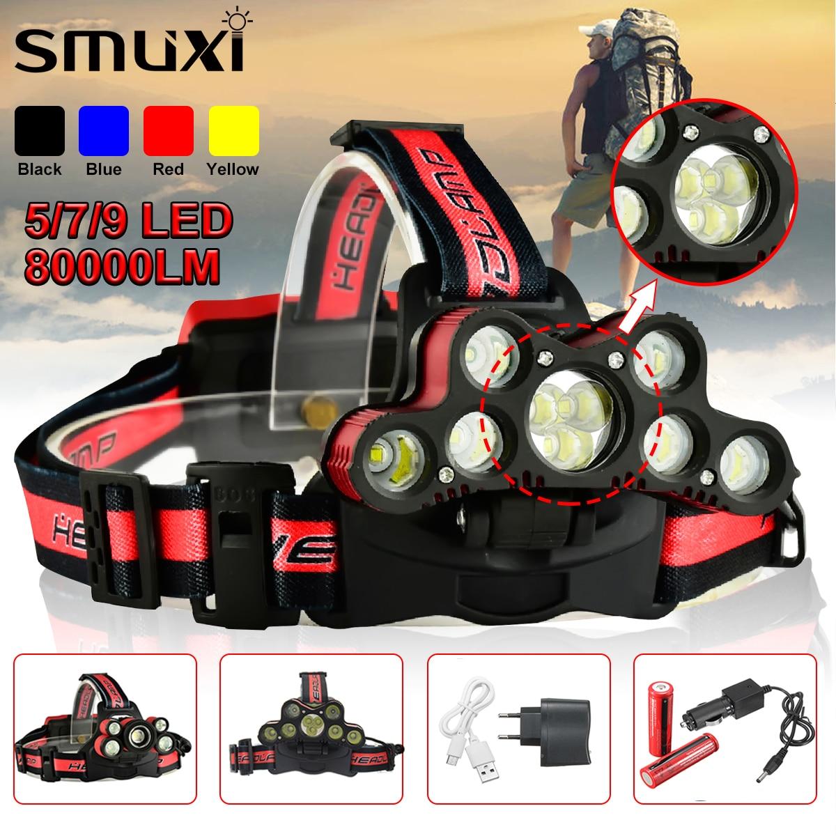 Smuxi LED Headlamp 80000LM 5/7/9 LED T6 Headlight Head Flashlight Torch Forehead USB Rechargeable Head Lamp Fishing Headlights