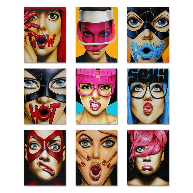 Tela di canapa di Arte di Stampa Sexy Delle Donne Esagerato Espressione di Arte Della Parete della Tela di Canapa Pittura Per Le Ragazze Immagini A Parete Per Soggiorno Decorativi