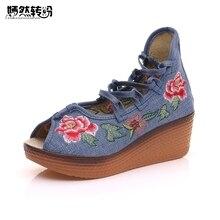 5 см каблуке женские босоножки Новинка 2017 года оригинальный открытый носок китайский цветочной вышивкой на танкетке на шнуровке обувь на платформе для женщин