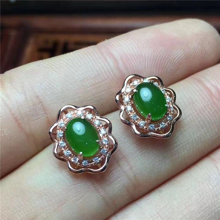 KJJEAXCMY bijoux fins 925 argent sterling incrusté de jade naturel medulla dame longue oreille clou ovale oreille crochet en forme