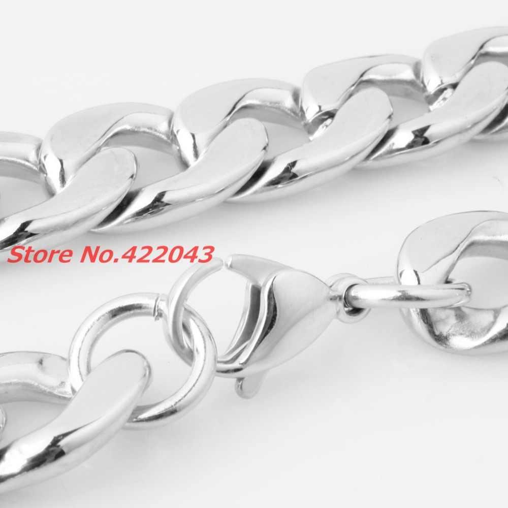 """Custmized 7-40 """"Top Chất Lượng 316L Thép Không Gỉ Bạc Được Đánh Bóng Curb Cuba Chain Dây Chuyền Nam Womens Jewelry 8/11/13/15/19 mét"""
