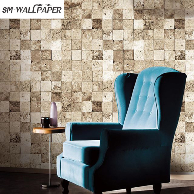 wholesale pvc vinyl wall stickers decorative murals 3d square stone embossed wallpaper for home restaurant decor