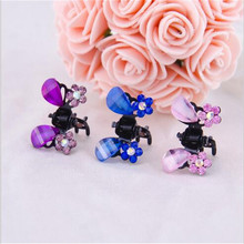 2016 Sale Happy 6pcs/lot Girls Mini Claw Hair Clip For New Fashion Artificial Crystal Butterfly Flower Shape Jewelry Accessory