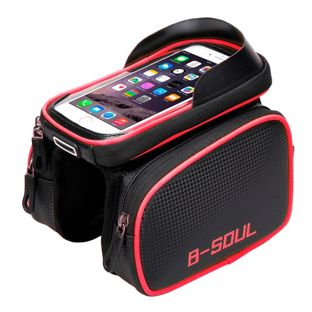B-SOUL bicicleta Front Frame bolsa de tubo Pannier doble bolsa para 5,5-6,2 pulgadas teléfono móvil accesorios de bicicleta Riding Bag 2017 Nuevo
