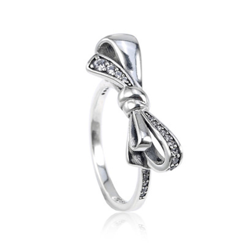 Hot Sale New Collection Popular Good Quality 925 Sterling Silver Brilliant Bow Ring for Women Fine Jewelry Free Shipping