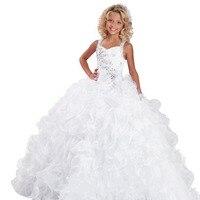 Top Flowers Girls Dresses Applique Crew Neck Sleeveless Ball Gown Back V Button Flower Girl Dresses for Wedding Eveining Dresses