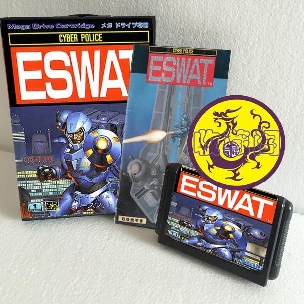 Eswat With Box And Manual 16bit MD Game Card For Sega Mega Drive For Genesis