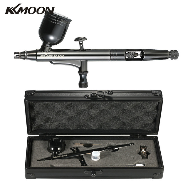 KKmoon HT-192 Multi-Purpose Gravity Feed Dual-Action Airbrush Kit Set 0.3mm 8cc Spray Gun With Gift Box