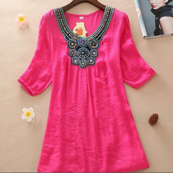 5 Colores de Las Mujeres de Bohemia Blusas Camisa Bordada O Cuello Suelto Vestid
