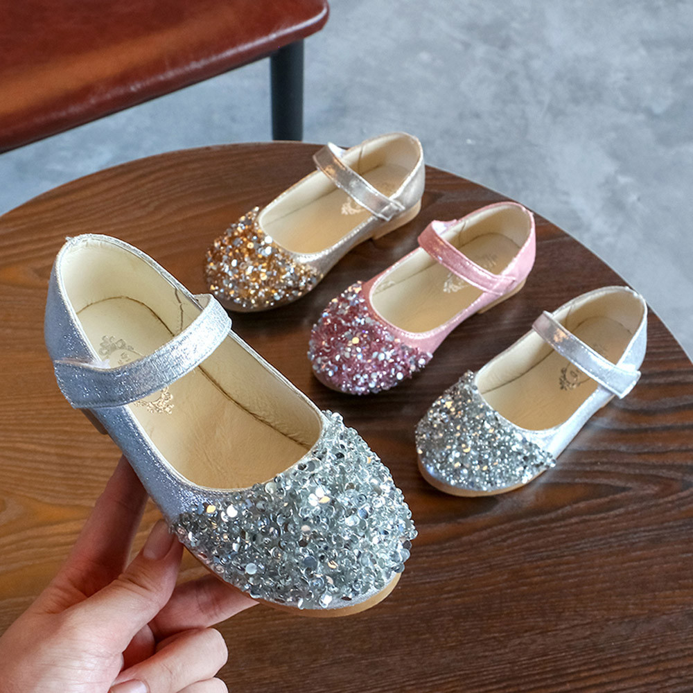 Kids Toddler Infant Baby Girls Crystal Leather Single Shoes Party Princess Shoes Sapato Menina De Couro De Festa6.641gg