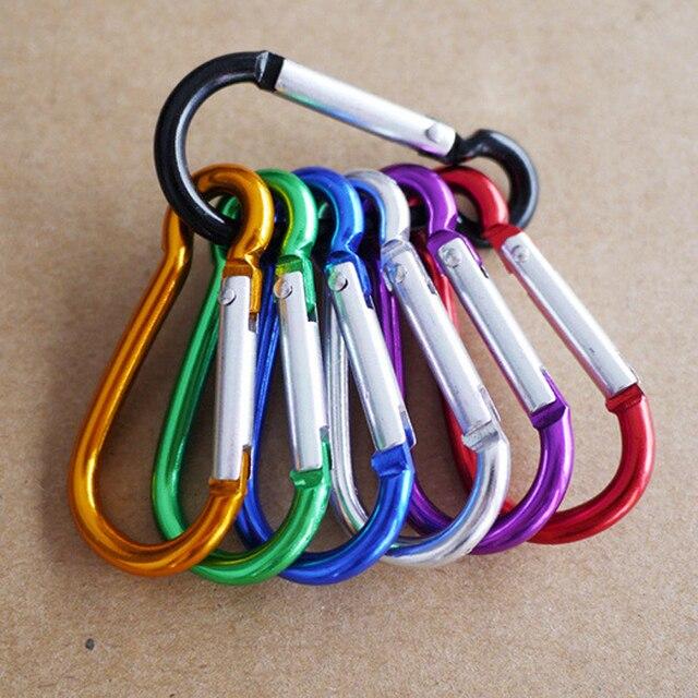 5pcs צבעוני אלומיניום סגסוגת R בצורת Carabiner Keychain הוק אביב הצמד קליפ קמפינג טיולי טיפוס אבזר נסיעות ערכות