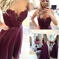 abendkleider 2016 robe de soiree Appliques Pearls Purple Vestido de festa longo Chiffon Long evening dresses for women