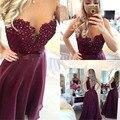 abendkleider 2016 robe de soiree Appliques Pearls Purple Vestido de festa longo Chiffon Long evening dresses for women