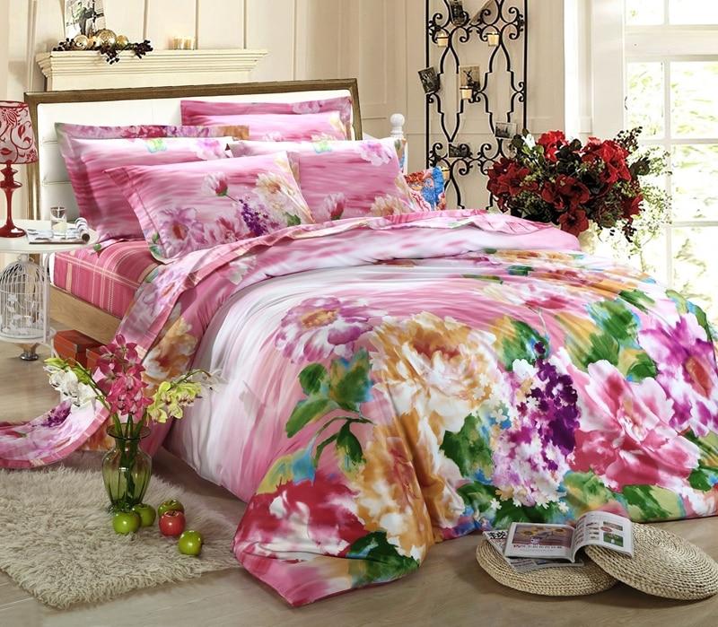 egyptian cotton pink flower luxury bedding set sets king queen size duvet cover bedspread bed in. Black Bedroom Furniture Sets. Home Design Ideas
