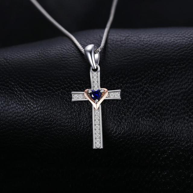 Blue Sapphire Love Cross Necklace