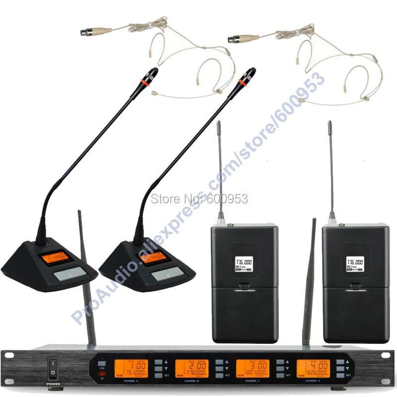 MICWL Audio Classic 4x100 Channel Digital Wireless 2 Desktop Meeting 2 Beige Headset Karaoke Microphone Mic System