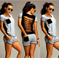 New Women Ladies Clubwear 2Pcs Playsuit Bodycon Trousers Casual Loose Patchwork Hole Decor Playsuits